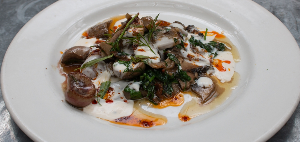 Pan-fried lamb's kidneys with field and wild mushrooms, sweet herbs, chilli butter and seasoned yoghurt.