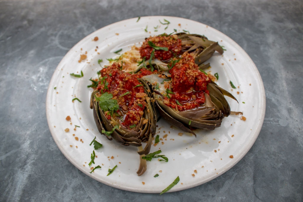 Steamed whole artichoke with salsa romesco at Moro
